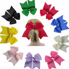 """7"""" Boutique Girl Hair Bows Clips Grosgrain Ribbon Cheer Party Hairbow 12 Colors"""