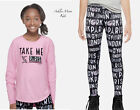 NWT JUSTICE 8 10 14 Pink Paris NY London Match & Patch Tee & Leggings Set