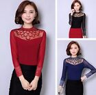 Fashion Women Slim Long Sleeve Mesh Tops Floral Lace Casual Blouses Solid Shirts