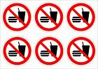 Pack Of 6 No Food Or Drink Stickers 2 Sizes - Prohibition Signs, Eating Drinking