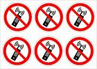 Pack Of 6 No Mobile Phones Stickers 2 Sizes - Prohibition Signs.