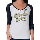 Ladies Milwaukee Brewers Shirt Women's MLB Batter Up 3/4 Sleeve Tee