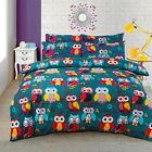 COTTON RICH BRIGHT OWL OWLS REVERSIBLE QUILT DUVET COVER BEDDING SET RED BLUE