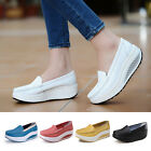Women Fashion Leather Shoes Loafers Platform Casual Listo Up Toning Wedge Shoes