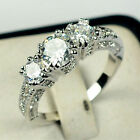 Hi Wedding Bride 10k Gold Filled White Sapphire Ring Size 6-9 Engagement Jewelry