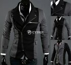 Men Top Splicing Oblique Outwear Suit Jacket Casual Fashion Zipper Trendy Slim01