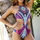 Sexy Women High Neck Cut Out Print One-Piece Swimwear DZ8801