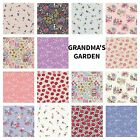 PATCHWORK/CRAFT FABRIC FAT QTR'S LEWIS & IRENE - GRANDMA'S GARDEN  15 DESIGNS