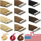 """US Stock 12"""" 60g 40Pcs Straight Remy Hair Extension Tape In 100% Real Human Hair"""