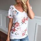 New Women Short Sleeve Shirt Summer Floral Casual Blouse Tops Loose T Shirt AS