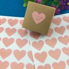 Handmade With love Heart Stickers- Pink Crafts Krafts Label Gift Shop packaging
