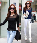 Womens Fashion Gauze Stitching Slim Fit Bottoming Shirt Tops Blouses AD235