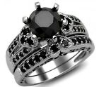 MOISSANITE 1.02 CT BLACK ROUND CUT  VVS1 DIAMOND ENGAGEMENT RING 14K WHITE GOLD