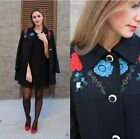 ZARA BLACK WOOL COAT WITH EMBROIDERED YOKE SIZE XL REF 7640 744