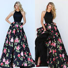 Womens Gown Prom Dress Floral Print Long Bridesmaid Evening Party Cocktail Skirt