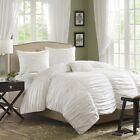 Luxury White Ruched Comforter Set Pillow Shams with Pillows
