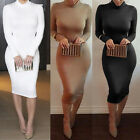 Women Fashion Bodycon Long Sleeve Pencil Dress Party Cocktail Evening Slim Dress