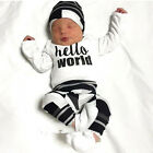 Cute Newborn Baby Boys Cotton Clothes Outfit Long Sleeve Tops + Trousers + Hat