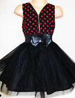 GIRLS RED BLACK POLKA DOT CHIFFON TULLE BOW TRIM SPECIAL OCCASION PARTY DRESS