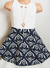 GIRLS WHITE & NAVY BLUE BAROQUE PRINT MINI SKATER PARTY DRESS with NECKLACE