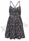 NEW WOMENS LADIES HEART PRINT CHIFFON STRAP SUMMER PARTY DAY DRESS SKATER SKIRT
