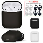 Silicone Case Protective Cover Skin + Earhooks For Apple AirPods Charging Case