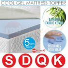 Cool GEL Memory Foam Mattress Underlay Topper Protector 5cm BAMBOO Cover Bed New