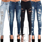 Women Ripped Jeans Ladies Faded Blue Rip Knee Stretch Skinny Denim Size 6-14