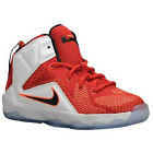 NIKE LEBRON XII 12 PRE SCHOOL 685184-602 Gym Red White 11 12  Kids