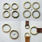 """Round Flat Circle Rings Antique Brass Plated 1.5"""" 1"""" 3/4"""" High Quality D Rings"""