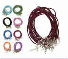 10/100 pcs 10 colors 2 mm Leather DIY With Lobster Clasp Charms Cord Necklace