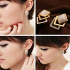 1/2Pair New Fashion Jewelry Crystal Ear Stud Earrings For Women Girls Gold color