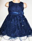 GIRLS NAVY BLUE FLORAL PATTERN SATIN CORSAGE TRIM PRINCESS PROM PARTY DRESS