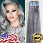 Silver Grey Hair Extensions Seamless Tape in Weft Brazilian Remy Human Hair US
