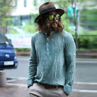 ByTheR Linen Classic Casual Outfit Roll-up Button Long Sleeve Henley Neck Shirts