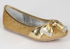 New Gold Glitter Girls Dress Shoes Youth Flats Rhinestones Pageant Wedding Party