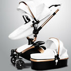 Baby Infant Stroller PU Leather Carriage Travel Car Foldable Pram Pushchair Gift