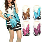 Womens Ladies Butterfly Print Short Sleeve Loose Casual Blouse T-shirt Plus Size