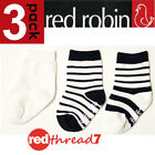 Red Robin Navy White Ankle Socks Baby 3 Pack Cotton Grip Sole Shoe Size 00-1 1-2