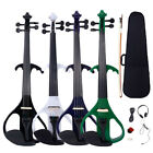 New 4/4 Electric Silent Violin + Case + Rosin + Head Set + Bow + Battery