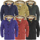 Mens Padded Hooded Fur Zip Lined Jacket Parka Coat Brave Soul Hoody Winter New