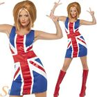 Ladies Ginger Power Costume 1990s Spice Girl Union Jack Fancy Dress Outfit