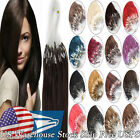 Fashion DIY Style Micro Ring Beads Loop Tip Remy Human Hair Extensions 20Inch US