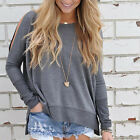 Ladies Fashion Off Shoulder Crewneck Long Sleeve T-Shirt Blouse Loose Tops