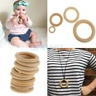 10pcs Baby Toddler Natural Wooden Teethers Crochet Nursing Teething Ring Gift