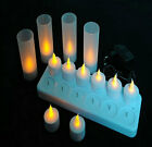 12 pcs LED Rechargeable Flameless Tea Light Candles with Votives