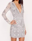 Missguided premium long sleeve sequin embellished wrap mini dress RRP £120 M1/24