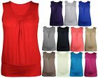 Ladies New Plus Size Sleeveless T-Shirt Womens Gathered Plain Casual Vest Top