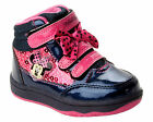 GIRLS DISNEY MINNIE MOUSE NAVY PINK SHOES HI TOP TRAINERS BOOTS UK SIZE 6-12
