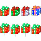 Pre-Lit LED Gift Boxes Silhouette Window Red/Green Multi Colour Set of 4